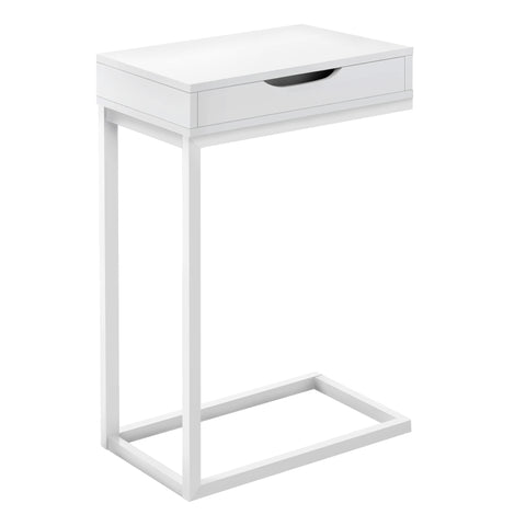 ACCENT TABLE - WHITE / WHITE METAL WITH A DRAWER  MN-3601