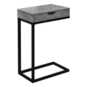 ACCENT TABLE - GREY STONE-LOOK / BLACK METAL    MN-3603