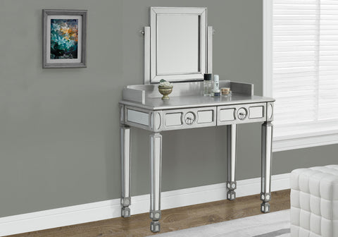 "VANITY - 36""L / BRUSHED SILVER / MIRROR / 2 DRAWERS   MN-3711"