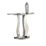 "ACCENT TABLE - 36""L / BRUSHED SILVER / MIRROR  I-3727"