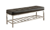 "BENCH - 48""L / BLACK LEATHER-LOOK / CHROME METAL   MN-4535"