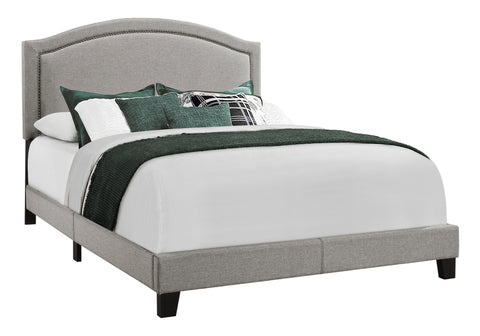 BED - QUEEN SIZE / GREY LINEN WITH CHROME TRIM  I-5936Q