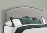 BED - QUEEN SIZE / GREY LINEN WITH CHROME TRIM  MN-5936Q
