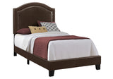 BED - TWIN SIZE / BROWN LEATHER-LOOK WITH BRASS TRIM  MN-5938T