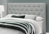 BED - QUEEN SIZE / GREY LINEN WITH CHROME TRIM  MN-5984Q