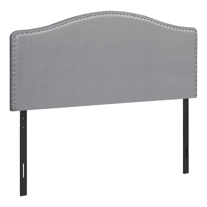 BED - QUEEN SIZE / GREY LEATHER-LOOK HEADBOARD ONLY    MN-6011Q