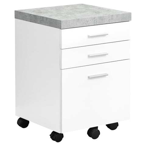 FILING CABINET - 3 DRAWER / WHITE / CEMENT-LOOK ON CASTOR  MN-7051