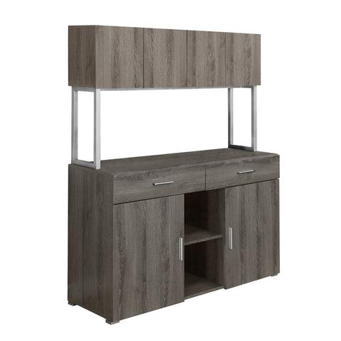 "OFFICE CABINET - 48""L / DARK TAUPE STORAGE CREDENZA  I-7067"