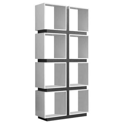 "BOOKCASE - 71""H / WHITE / GREY   MN-7076"