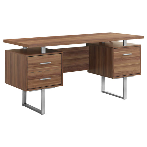 "COMPUTER DESK - 60""L / WALNUT / SILVER METAL   MN-7083"