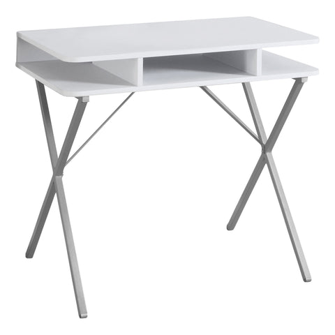 "COMPUTER DESK - 31""L / WHITE TOP / SILVER METAL  MN-7100"