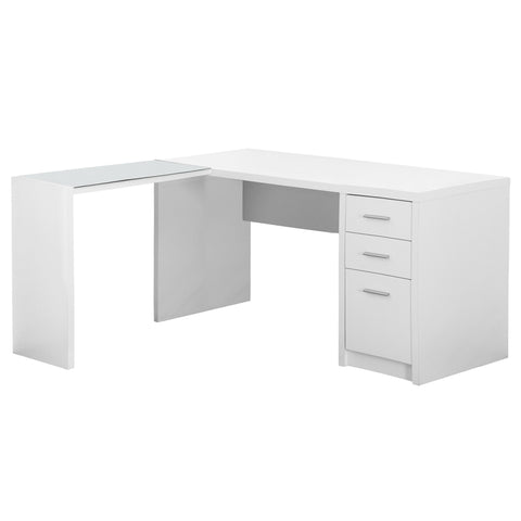 COMPUTER DESK - WHITE CORNER WITH TEMPERED GLASS  MN-7136