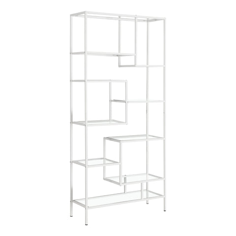"BOOKCASE - 72""H / WHITE METAL WITH TEMPERED GLASS  I-7159"