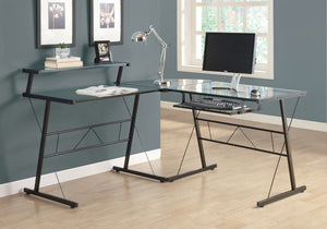 COMPUTER DESK - BLACK METAL CORNER WITH TEMPERED GLASS    MN-7172