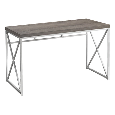 "COMPUTER DESK - 48""L / DARK TAUPE / CHROME METAL  MN-7204"