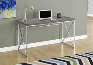 "COMPUTER DESK - 48""L / DARK TAUPE / CHROME METAL    MN-017204"