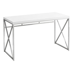 "COMPUTER DESK - 48""L / GLOSSY WHITE / CHROME METAL    MN-7205"