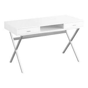 "COMPUTER DESK - 48""L / GLOSSY WHITE / CHROME METAL    MN-7211"