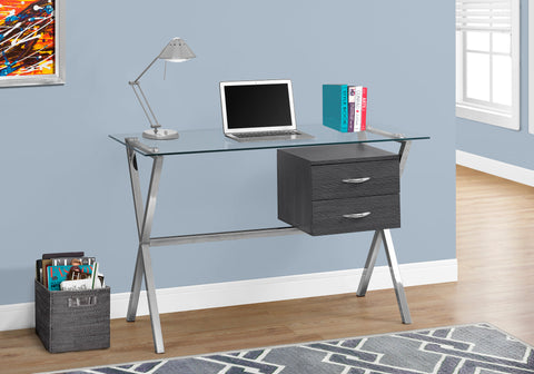 "COMPUTER DESK - 48""L / GREY / CHROME / TEMPERED GLASS   MN-7216"