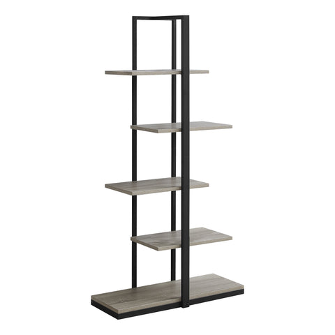 "BOOKCASE - 60""H / DARK TAUPE / BLACK METAL  MN-7232"