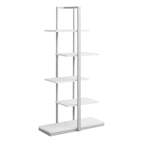 "BOOKCASE - 60""H / WHITE / SILVER METAL  MN-7233"