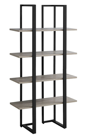"BOOKCASE - 60""H / DARK TAUPE / BLACK METAL    MN-7237"