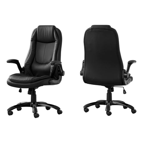 OFFICE CHAIR - BLACK LEATHER-LOOK / HIGH BACK EXECUTIVE  MN-7277