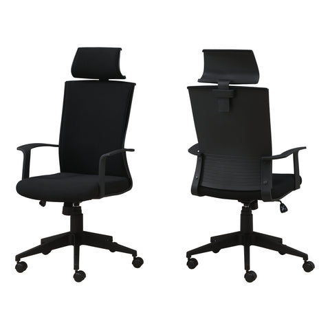 OFFICE CHAIR - BLACK / BLACK FABRIC / HIGH BACK EXECUTIVE  MN-7300