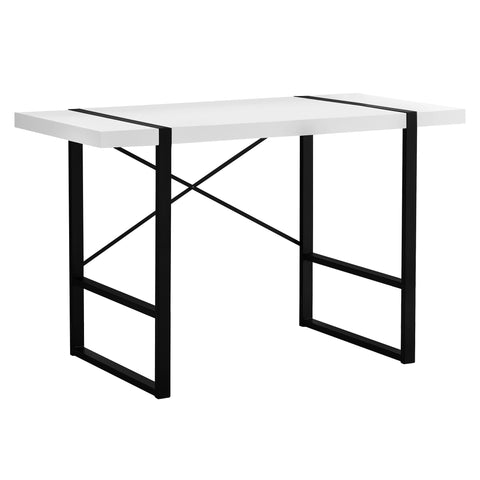 "COMPUTER DESK - 48""L / WHITE / BLACK METAL  MN-7313"