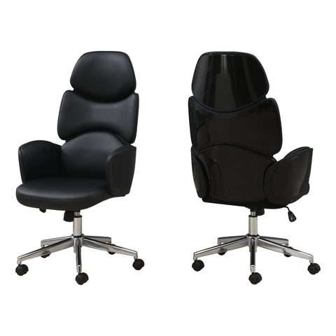 OFFICE CHAIR - BLACK LEATHER-LOOK / HIGH BACK EXECUTIVE  MN-7321