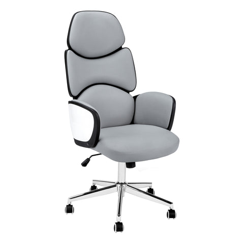 OFFICE CHAIR - GREY LEATHER-LOOK / HIGH BACK EXECUTIVE  MN-7322