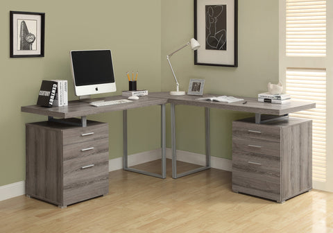COMPUTER DESK - DARK TAUPE RECLAIMED LOOK L SHAPED   MN-7326-3