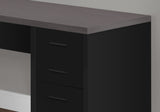 COMPUTER DESK - BLACK / GREY TOP CORNER W/ TEMPERED GLASS   MN-7431