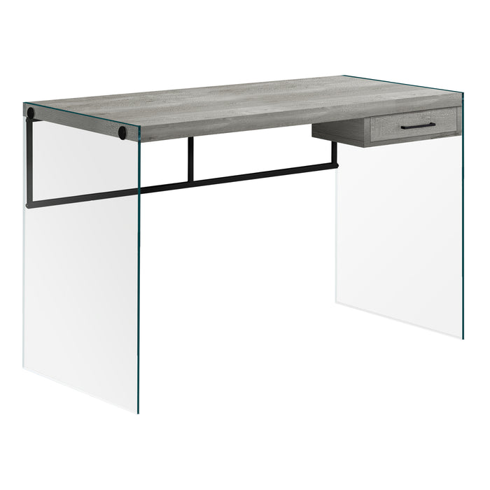 "COMPUTER DESK - 48""L / GREY RECLAIMED WOOD / GLASS PANELS    MN-227445"