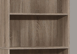 "BOOKCASE - 72""H / DARK TAUPE WITH 5 SHELVES    MN-197468"
