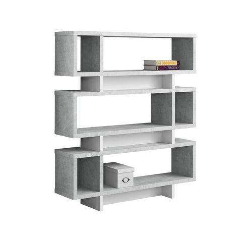 "BOOKCASE - 55""H / WHITE / CEMENT-LOOK MODERN STYLE  MN-7532"