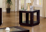 ACCENT TABLE - CAPPUCCINO VENEER WITH GLASS INSERT   MN-7811E