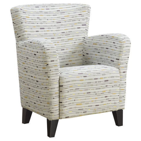ACCENT CHAIR - EARTH TONE GRAPHIC PATTERN FABRIC  MN-8013