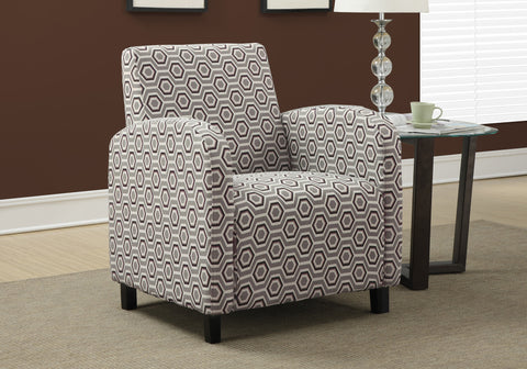 "ACCENT CHAIR - GREY / EARTH TONE "" HEXAGON "" FABRIC    MN-8044"