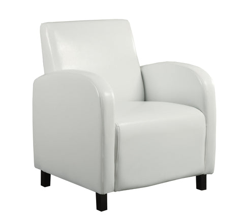 ACCENT CHAIR - WHITE LEATHER-LOOK FABRIC  MN-8049