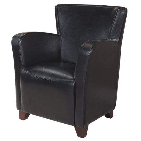 ACCENT CHAIR - BLACK LEATHER-LOOK FABRIC  MN-8067