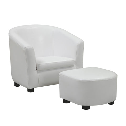 JUVENILE CHAIR - 2 PCS SET / WHITE LEATHER-LOOK FABRIC  MN-8104