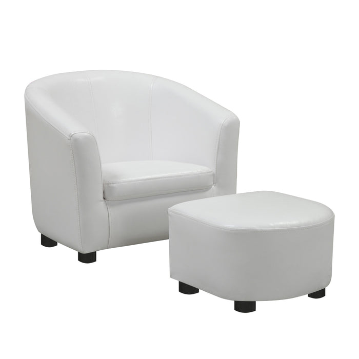 JUVENILE CHAIR - 2 PCS SET / WHITE LEATHER-LOOK FABRIC    MN-508104