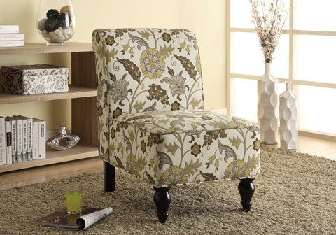 ACCENT CHAIR - BROWN / GOLD FLORAL TRADITIONAL FABRIC   MN-8125