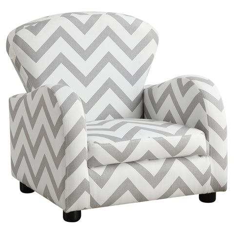 JUVENILE CHAIR - GREY CHEVRON FABRIC  I-8143