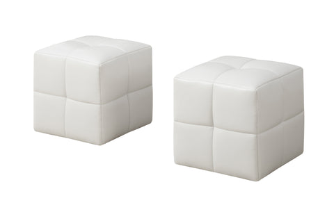 OTTOMAN - 2PCS SET / JUVENILE / WHITE LEATHER-LOOK  I-8161