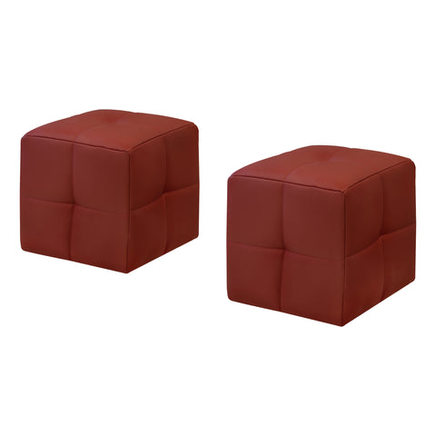 OTTOMAN - 2PCS SET / JUVENILE / RED LEATHER-LOOK  MN-8164