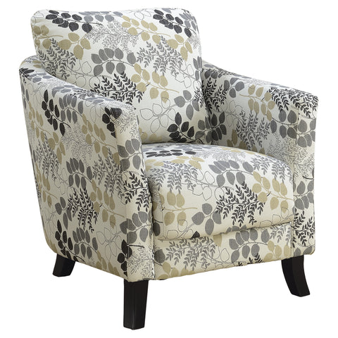 ACCENT CHAIR - EARTH TONE FLORAL FABRIC  I-8183
