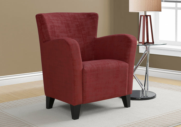ACCENT CHAIR - RED BRUSHED VELVET FABRIC   MN-788216