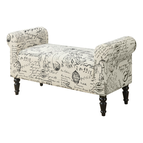 "BENCH - 44""L / TRADITIONAL STYLE VINTAGE FRENCH FABRIC  I-8915"